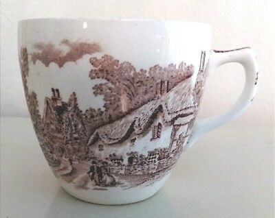 """BARKER BROS ENGLAND """"OLDE ENGLAND"""" Brown and white TEA CUP teacup"""
