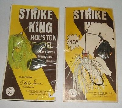 Lot of 2 Vintage Strike King Spinnerbaits 1/4 and 5/8 oz. NOC Old Stock