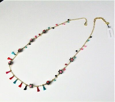 75% Off Talbots Threads & Flowers Layer Necklace Tassels Beads Multi-Color Nwt F
