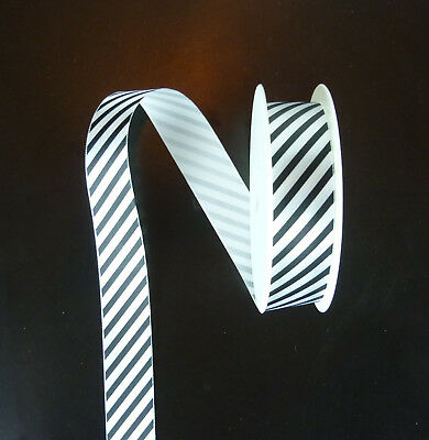 Black and white striped ribbon, 2 meters long, 25 mm wide