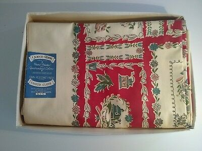 "Queen Anne Table Cloth Coated Vintage 1950s - 52""X72"" Rectangle, in  box."
