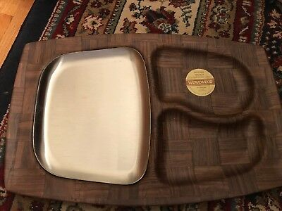 2 USA Weavewood Serving Walnut Trays- Hot Food Stainless Steel Insert, new