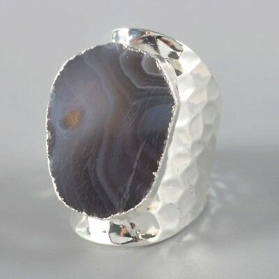 Defective Size 6.5 Botswana Agate Ring Silver Plated B052792