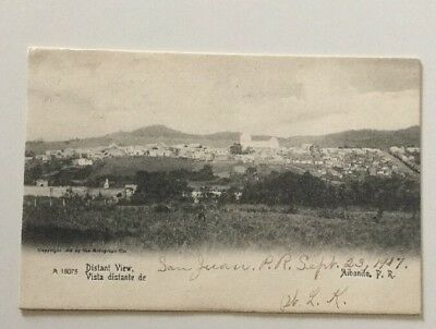 Aibonito, Puerto Rico 1907 Pc Distant View Of Town Great Early Scene!