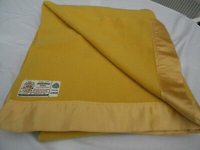 "VTG GOLD 100% PURE MERINO WOOL MARQUISE John Atkinson & Sons BLANKET 72"" x 84"""