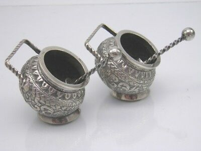 Antique late 19th century Indian Kutch Silver pair of scuttle open salt cellars