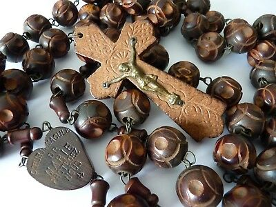Vintage Antique 1920's Large Hand Carved Wood Rosary beads St Anne De Beaupre