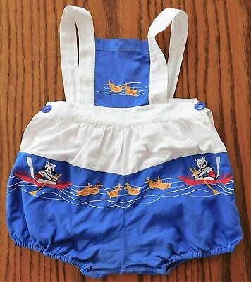 Vintage 1960s infant romper shorts straps Embroidered cat ducks Baby boy girl