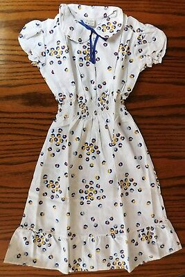 Girls flounced summer dress Vintage 1970s UNUSED geometric cotton repp Age 10-11