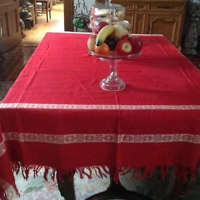 "Antique Victorian TURKEY RED DAMASK Tablecloth & 12 Napkins Fringed 62"" X 78"""
