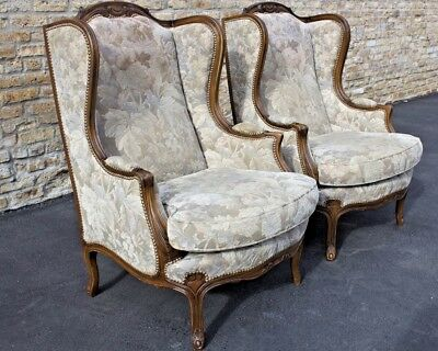 Pair Of Carved Antique Tall French Wing Chairs Ca 1940