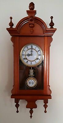 Highlands vintage retro antique wall clock dark wood & key. Good working order