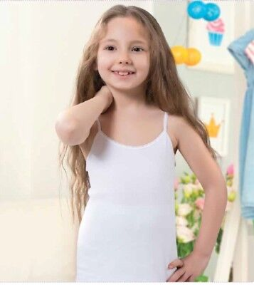 Girls Cami, Tank Tops,3 in pack white,High Quality %100 Turkish Cotton Ages 2/13