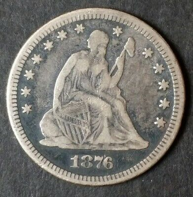 1876 Seated Liberty Quarter Dollar - Rare - *Free Shipping*