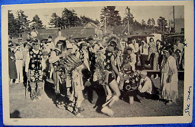 Ca 1930s Postcard Indian Dancers Performing for Crowd of Spectators Northern MN