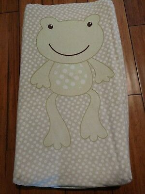 Green Frog Diaper Changing Pad Cover Cream Tan polka dots