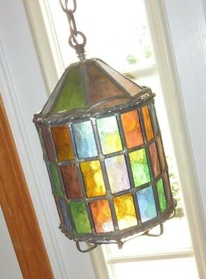 Hanging Stained Glass Porch Light Lamp Pendant Hall Vintage Swag Church (m512)