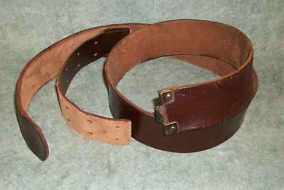 "WWII German Luftwaffe Brown Leather belt-Marked ""CROUPON 743"" Original Issue"