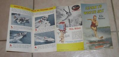 1957 VINTAGE BOOKLET LEARN TO WATER SKI with WILLA McGUIRE MERCURY OUTBOARDS