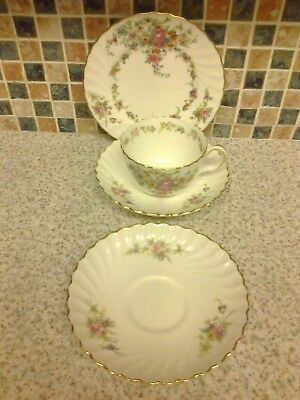 Minton China Trio Lorraine Design Cup Saucer & Side/cake Plate + 1 Saucer