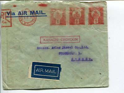 India meter mark air mail cover to Sweden, Calcutta 1930