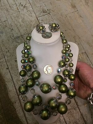 Vtg '60 RARE CONTINENTAL chunky granny 3 strand lucite crystal beads necklace