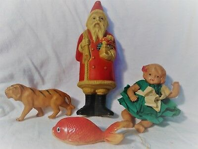 antique celluloid toy santa rattle with other celluloid toys