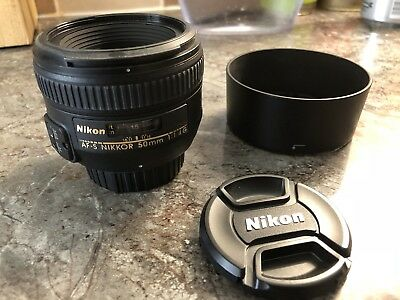 Nikon Nikkor 50mm F/1.4G AF-S Lens with Hood, Caps And Pouch exc+