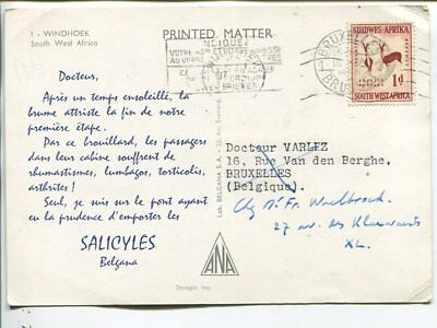 South West Africa Salicyles Dear Doctor post card to Belgium 1956
