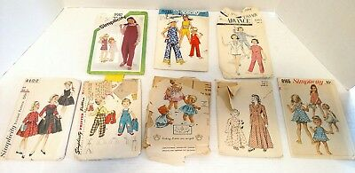 Vintage 1940-1980's Sewing Patterns Girls Toddler Baby Lot 8 Childrens Size T11