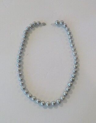 """Estate AKOYA Silver Gray Cultured Pearl 17"""" Necklace, 14 K Clasp"""