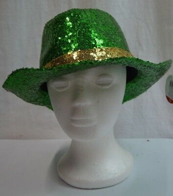 St. Patricks Day Adult Sequin Cowboy Hat Green With Gold Band