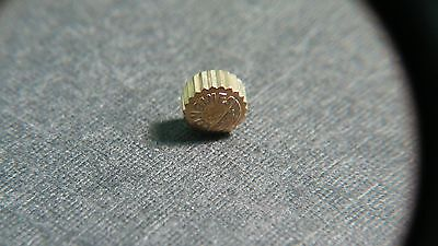 LONGINES yellow/gold  (plated) CROWN 3.8mm - 3.9MM x 2MM tube - WATCH PART