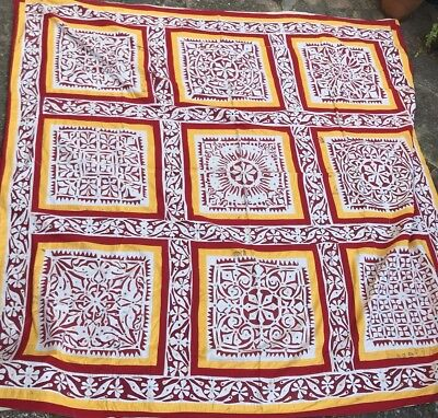 Vintage 1970s Hand Applique Work Canopy Wedding From Rajasthan India 7.7x7.7ft