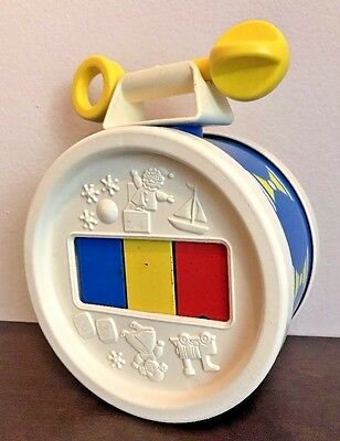 Vintage Fisher Price Plastic Baby Musical Toy Xylophone Drum with Mallet 1976