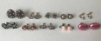 Antique Lot of Costume Jewelry Earrings Screw On Back Old Vintage Junk Drawer