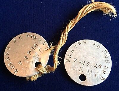 WWI USMC Dog Tag Set Norman McDonald 7.27.18 (4615816)