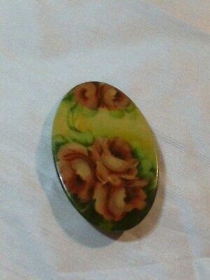 Vintage Antique Hand Painted  Metal Brooch Pin Mirror on Reverse Side