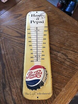 "Vintage Pepsi Cola Thermometer. 1957 ""Have a Pepsi"". Embossed Bottle Cap Sign."