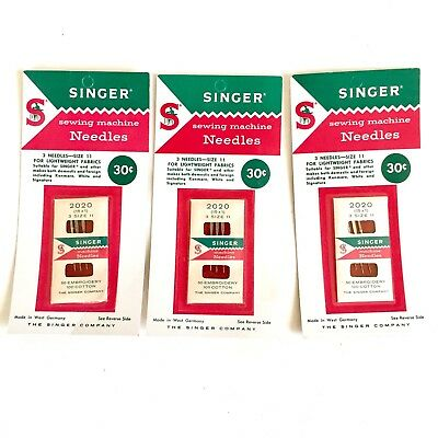 Vtg Singer Sewing Machine Needles Size 11 Lightweight Fabrics West Germany 3 Pks
