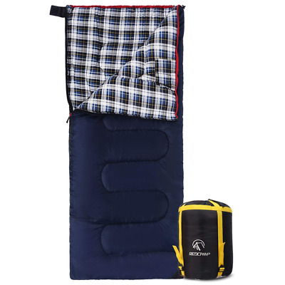 Cotton Flannel Sleeping bags for Camping,Warm and Comfortable, Envelope Blue US