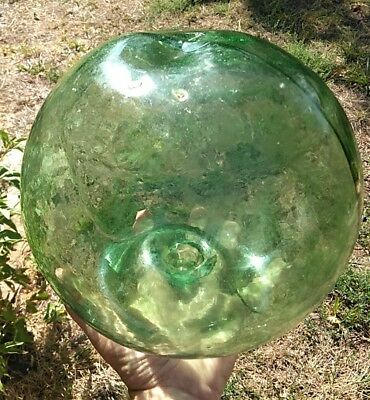Authentic Large Vintage Antique Japanese Glass Fishing Float Rope Buoy Ball Wwii