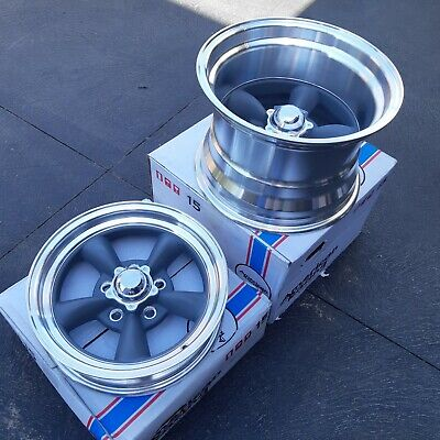 2 x 15x10 wheels HOLDEN HQ WB HZ HX Chev mags DEEP DISH Thrust rims jag front