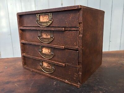 Vintage Desktop Chest Drawers Stationary Brass Haberdashery Collectables Wooden