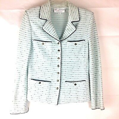 St John Collection Marie Gray Skirt Suit Lt Blue Black White Knit Tweed Jacket 6