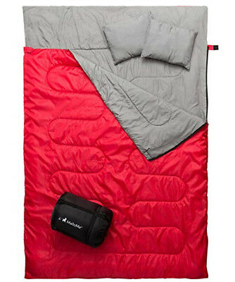 Camping Sleeping Bag - 3 Season Warm & Cool Weather Waterproof For Adults & Kids