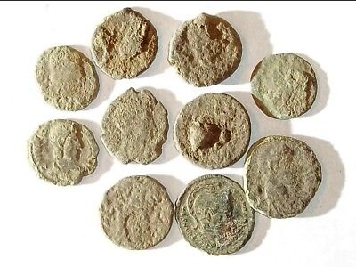 10 ANCIENT ROMAN COINS AE3 - Uncleaned and As Found! - Unique Lot X21134