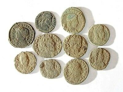 10 ANCIENT ROMAN COINS AE3 - Uncleaned and As Found! - Unique Lot 21129