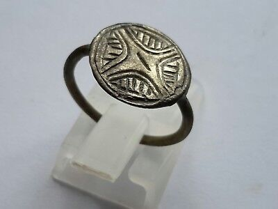 Medieval Time of Crusaders 1200-1400 AD-  Silver ring,engraved bezel ,wearable