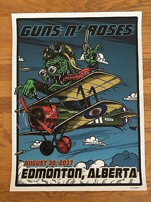 Guns N' Roses Edmonton Aug 30 2017 Lithograph Poster Not In This Lifetime Tour
